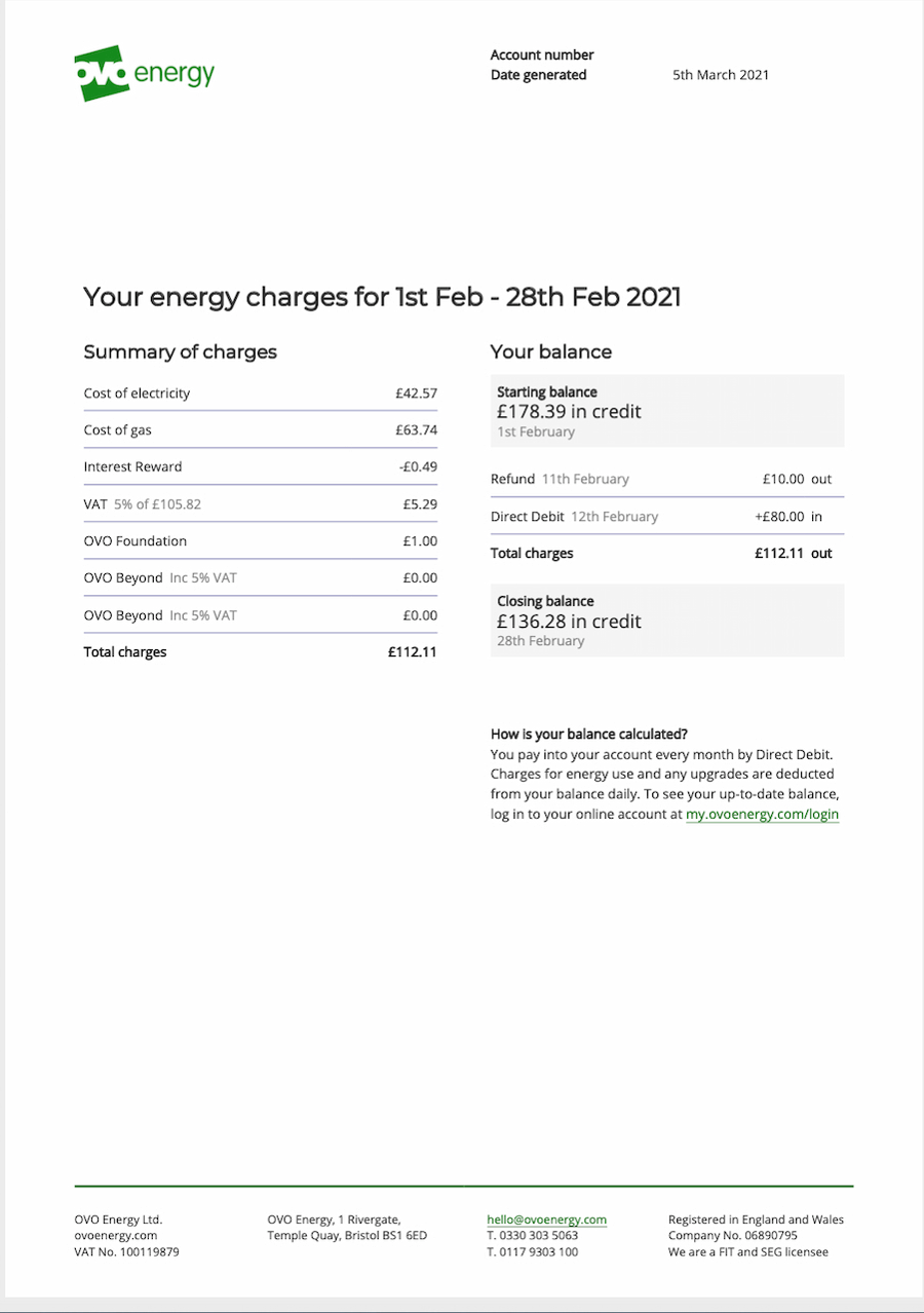 OVO Energy bill example - your charges