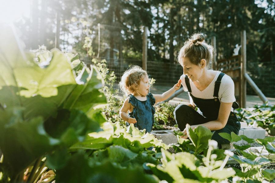 Mum with child in garden