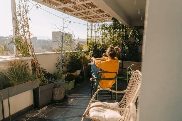 Sunbathing on the balcony